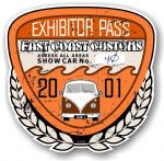 Aged Vintage 2001 Dated Car Show Exhibitor Pass Design Vinyl Car sticker decal  89x87mm
